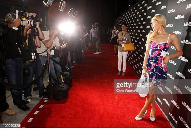 Scoialite Paris Hilton arrives at the Activision E3 2010 preview held at Staples Center on June 14, 2010 in Los Angeles, California.