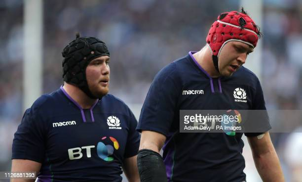 Scoland's Grant Gilchrist appears dejected during the Guinness Six Nations match at the Stade De France Paris