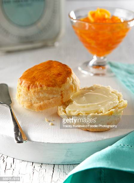 Scone with butter and marmalade