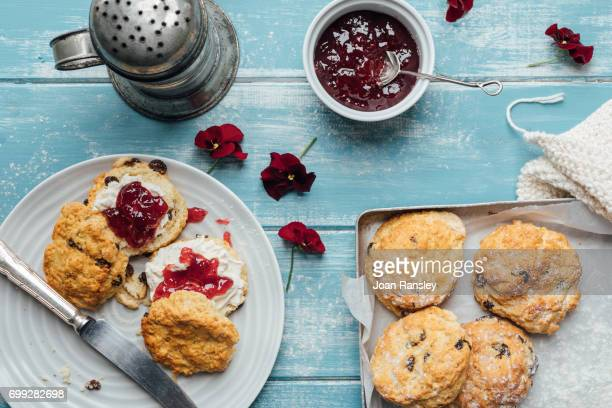 scones and jam - afternoon tea stock pictures, royalty-free photos & images
