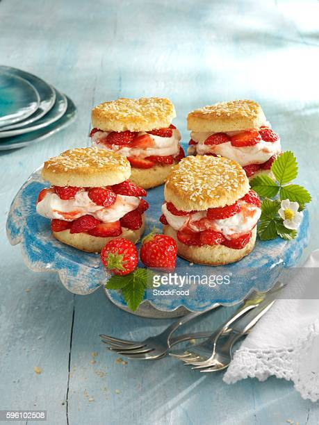 Scones with cream and strawberries