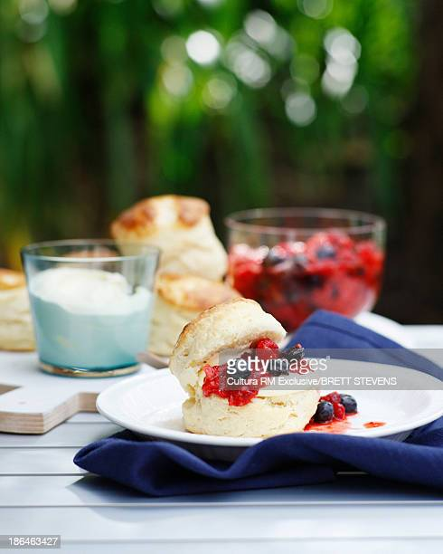 Scones with creme fraiche and summer berries