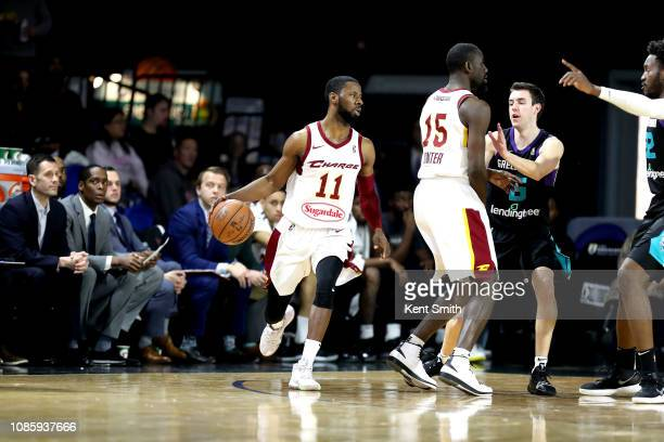 Scoochie Smith of the Canton Charge handles the ball against the Greensboro Swarm on January 21 2019 at Greensboro Coliseum Fieldhouse in Greensboro...