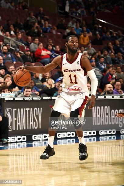 Scoochie Smith of the Canton Charge handles the ball against the Delaware Blue Coats on November 20 2018 at the Wells Fargo Center in Philadelphia...
