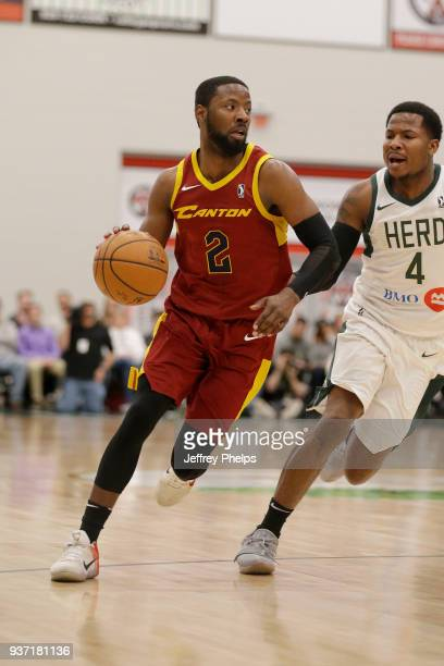 Scoochie Smith of the Canton Charge handles the ball against the Wisconsin Herd during the NBA GLeague game on March 23 2018 at the Menominee Nation...