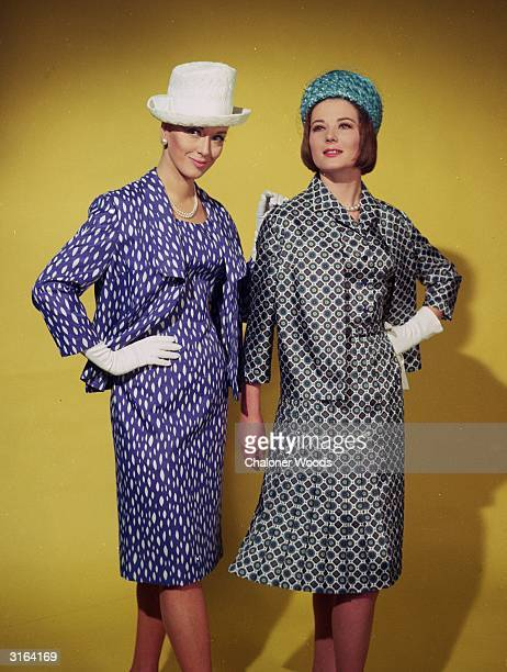 Scoop neckline to a purple and white dress and jacket worn with a white hat and gloves Second model wears a tailored dress with a box pleated skirt...