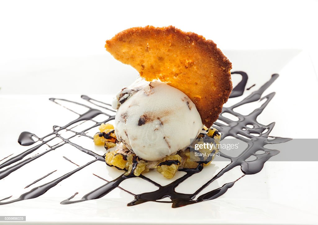 Scoop of icecream with cookie : Stock Photo