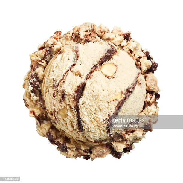 scoop of mocha almond ice cream on white - ice cream stock pictures, royalty-free photos & images