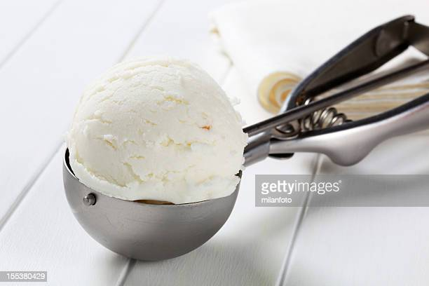 scoop of white ice cream - sorbet stock pictures, royalty-free photos & images