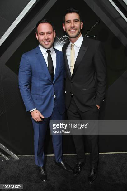 Scooter Braun and Adam Braun attend the Pencils of Promise 10th Anniversary Gala at the Duggal Greenhouse on October 24 2018 in New York City