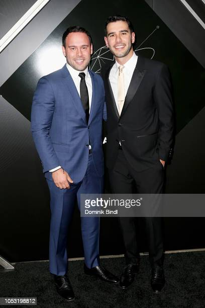 Scooter Braun and Adam Braun attend the Pencils of Promise 10th Anniversary Gala at Duggal Greenhouse on October 24 2018 in Brooklyn New York