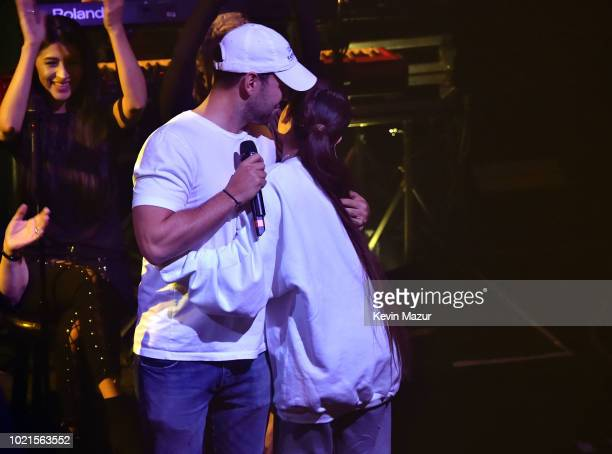Scooter Braun and Ariana Grande at the American Express And Ariana Grande Present 'The Sweetener Sessions' At Chicago's The Vic at The Vic Theater on...