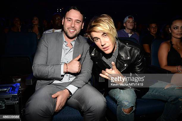 Scooter Braun and Justin Bieber attend the 2015 MTV Video Music Awards at Microsoft Theater on August 30 2015 in Los Angeles California