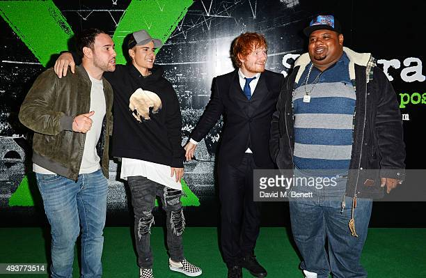Scooter Braun Justin Bieber Ed Sheeran and Big Narstie attend the World Premiere of 'Ed Sheeran Jumpers For Goalposts' at Odeon Leicester Square on...