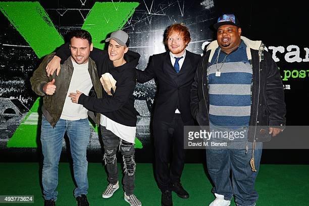 Scooter Braun Justin Bieber Ed Sheeran and Big Narstie attend the World Premiere of Ed Sheeran Jumpers For Goalposts at Odeon Leicester Square on...