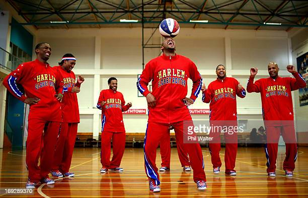 Scooter Christensen of the Harlem Globetrotters balances the ball during a Harlem Globetrotters media session at Youthtown on May 23 2013 in Auckland...