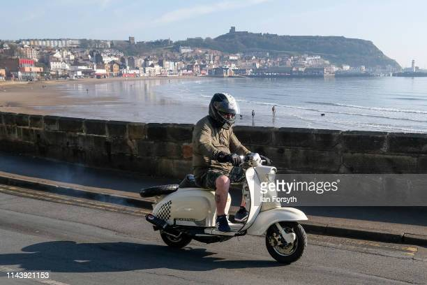 Scooter enthusiasts from all around the country take part in the first day of the Easter National Scooter Rally on April 20 2019 in Scarborough...