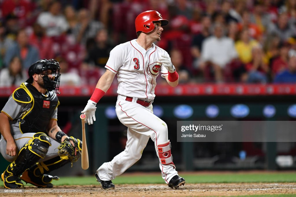 Scooter Gennett #3 of the Cincinnati Reds hits a home run in the sixth inning against the Pittsburgh Pirates at Great American Ball Park on May 23, 2018 in Cincinnati, Ohio. Pittsburgh defeated Cincinnati 5-4 in 12 innings.