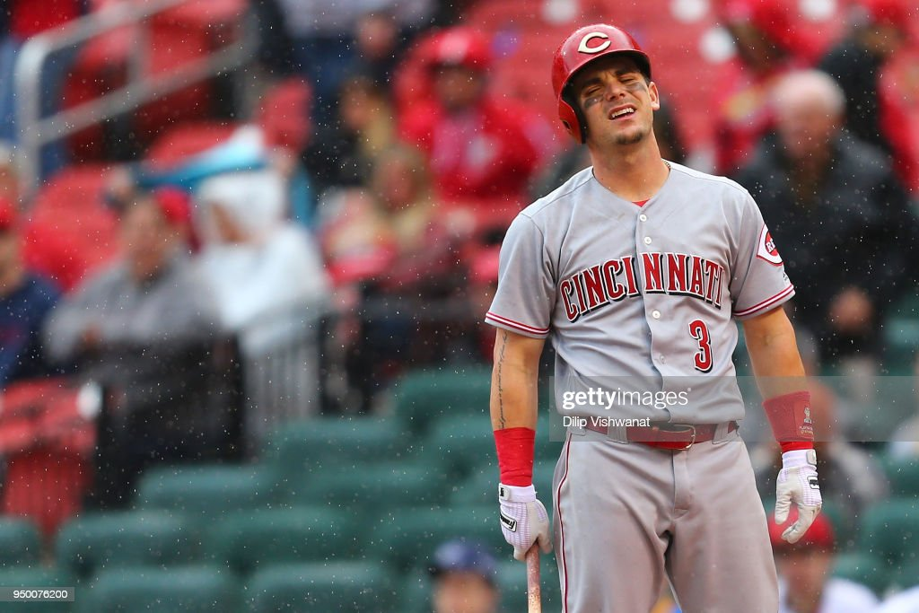 Scooter Gennett #3 of the Cincinnati Reds reacts after striking out against the St. Louis Cardinals in the ninth inning at Busch Stadium on April 22, 2018 in St. Louis, Missouri.