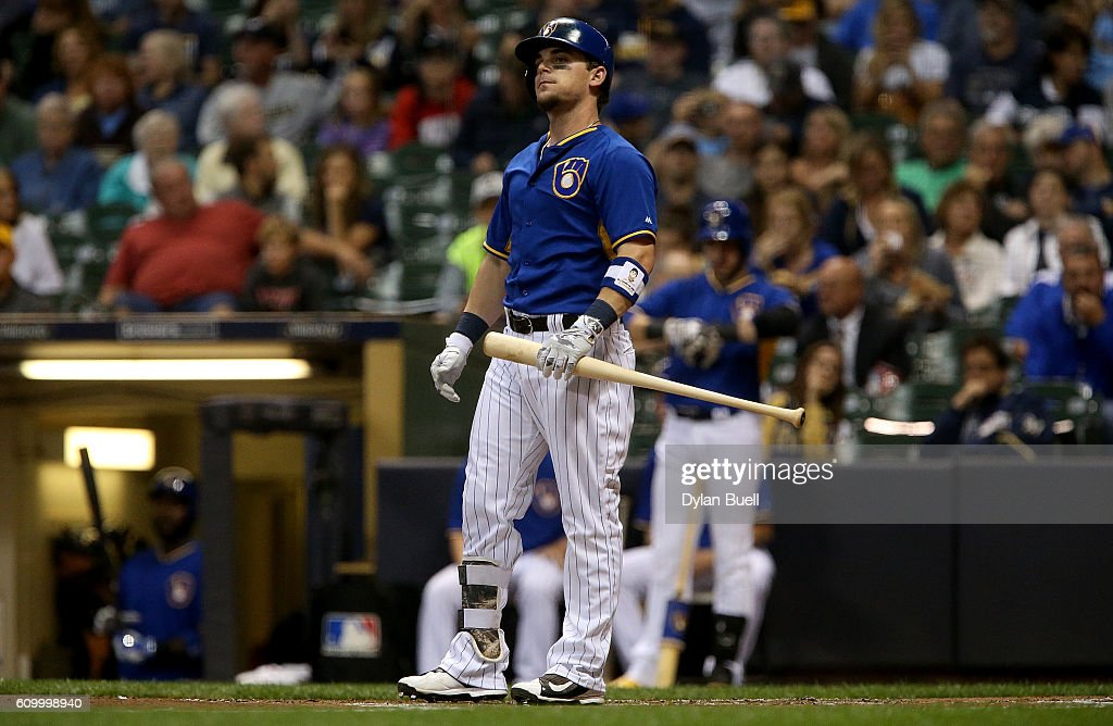 Scooter Gennett #2 of the Milwaukee Brewers reacts after striking out in the first inning against the Cincinnati Reds at Miller Park on September 23, 2016 in Milwaukee, Wisconsin.