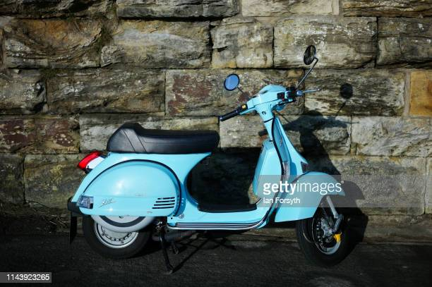 A scooter is displayed as enthusiasts from all around the country arrive to take part in the first day of the Easter National Scooter Rally on April...
