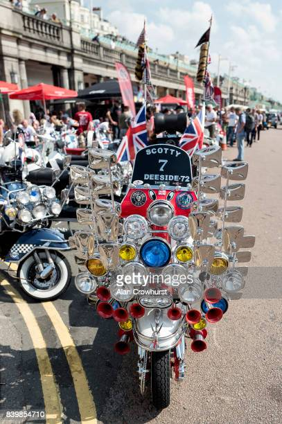 A scooter is parked on the seafront during The Mod Weekender on August 27 2017 in Brighton England Brighton became the meeting place for Mods on...