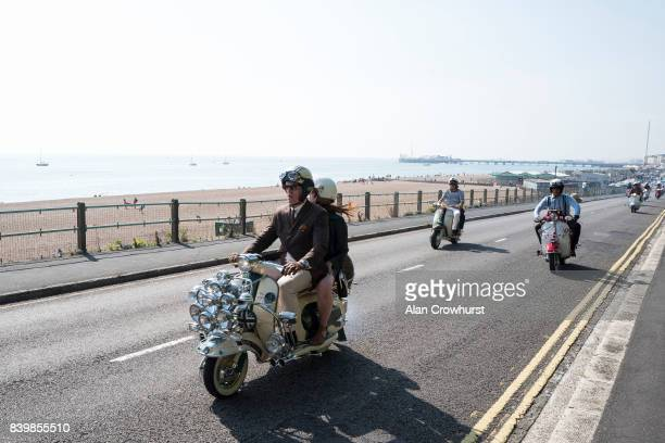 Scooter leave the seafront and make their run out to Peacehaven during The Mod Weekender on August 27 2017 in Brighton England Brighton became the...