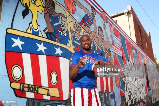 Scooter of the Harlem Globetrotters poses next to a Harlem Globetrotters graffiti mural during a media opportunity on February 16 2018 in Melbourne...