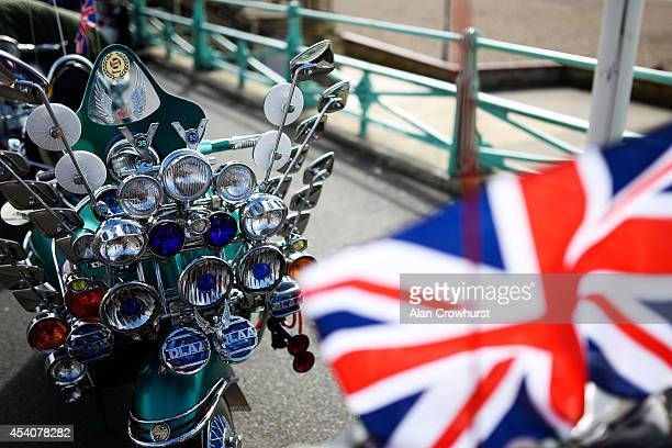 A scooter on display during the Brighton Mod weekender on August 24 2014 in Brighton England This August Bank holiday will see many Mods and their...