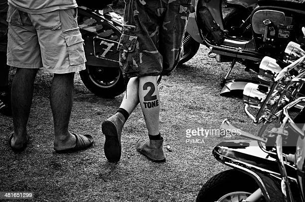 A Scooterist showing off his love for 2Tone at the Isle Of Wight Scooter Rally 2009