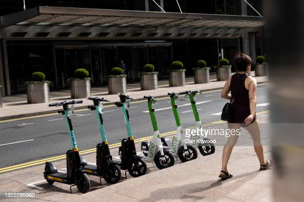 Scooters are lined up in a bay during a photo-call at the launch of an E-Scooter pilot program on June 07, 2021 in London, England. Local government...