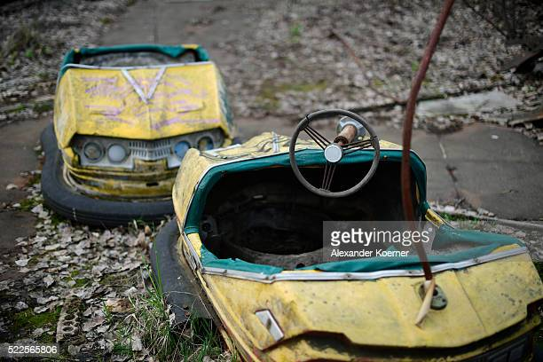 Scooters are seen inside an abandoned amusement park while on set during the shooting for the new local production 'Wigald Fritz Die...