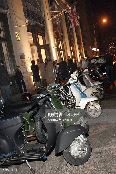 Scooters line the street outside the launch of Ben Sherman's first official US Flagship Store on March 30 2006 in New York City