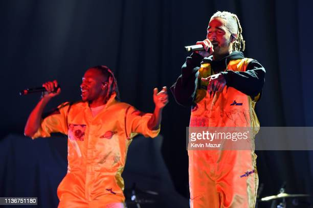 Scootie and MIkey of Social House perform onstage during the Ariana Grande Sweetener World Tour Opening Night at Times Union Center on March 18 2019...