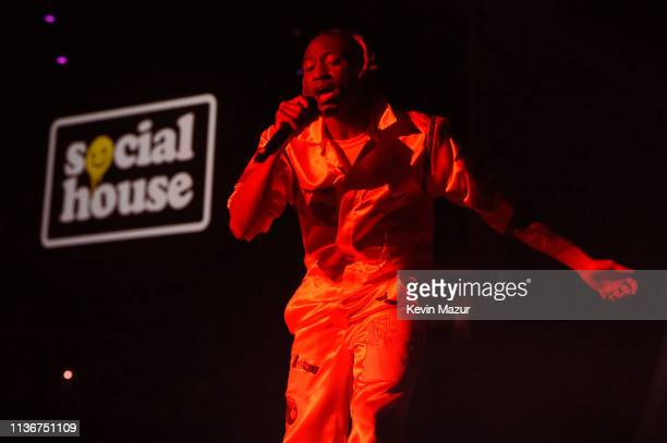 Scootie of Social House performs onstage during the Ariana Grande Sweetener World Tour Opening Night at Times Union Center on March 18 2019 in Albany...