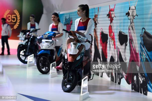 TVS scooties on display during Auto Expo 2018 motor show at the India Expo Mart on February 7 2018 in Greater Noida India The Expo will include two...
