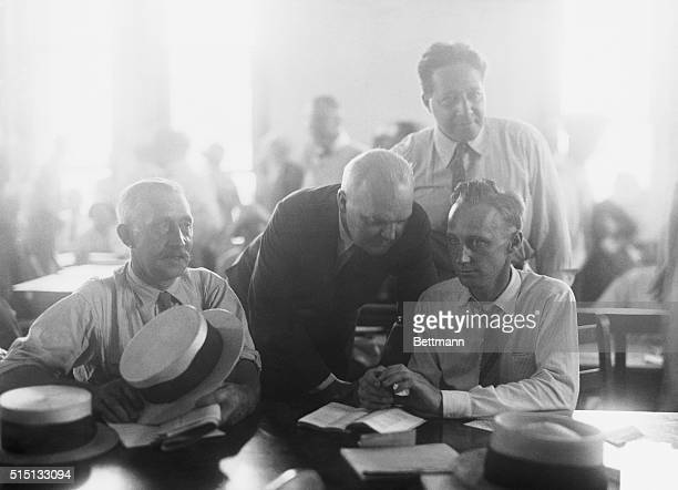 Scopes trialBack row left to right Dudley Field Malone and Garfield Hays seated left to right Thomas Scopes and Scopes in conference at a defense...