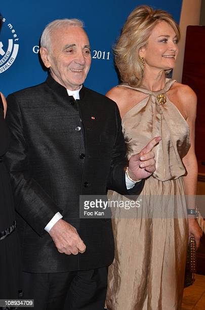 Scopus awarded actor/singer Charles Aznavour and Florence de Botton attend the 'Scopus 2011 Awards' Tribute to Charles Aznavour' at Theatre des...