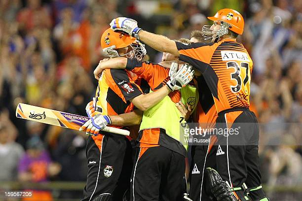 Scorchers celebrate their team's victory during the Big Bash League semifinal match between the Perth Scorchers and the Melbourne Stars at the WACA...