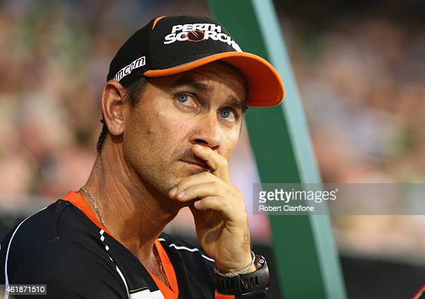 Scorchers coach Justin Langer looks on during the Big Bash League match between the Melbourne Stars and Perth Scorchers at Melbourne Cricket Ground...