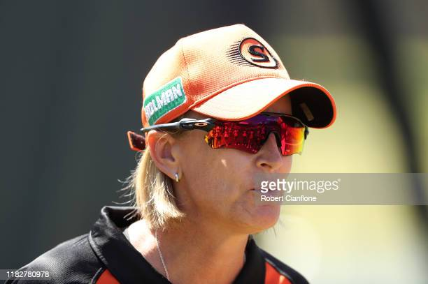 Scorchers coach Lisa Keightley is seen during the Women's Big Bash League match between the Melbourne Renegades and the Perth Scorchers at CitiPower...