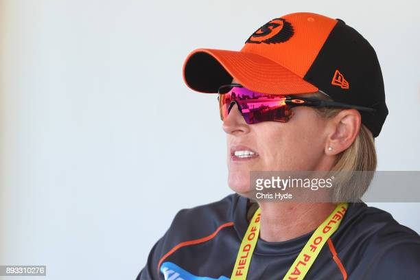Scorchers coach Lisa Keightley looks on during the Women's Big Bash League match between the Brisbane Heat and the Perth Scorchers at Allan Border...