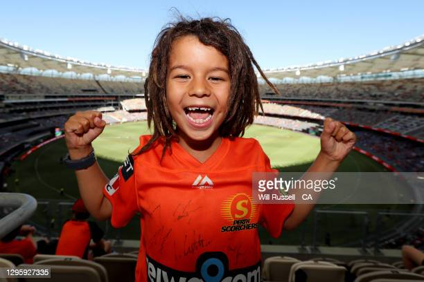 Scorchers fan show their support during the Big Bash League match between the Perth Scorchers and the Hobart Hurricanes at Optus Stadium, on January...