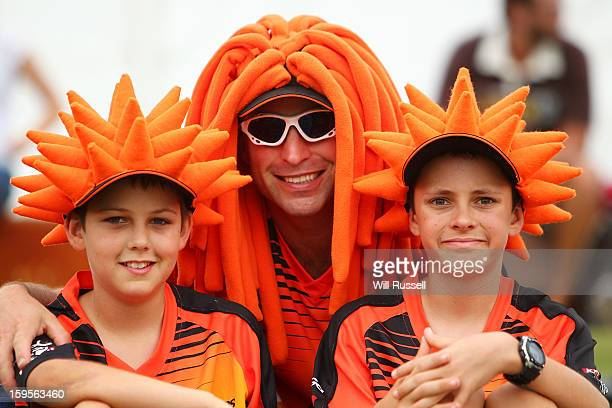 Scorchers fans during the Big Bash League semifinal match between the Perth Scorchers and the Melbourne Stars at the WACA on January 16 2013 in Perth...