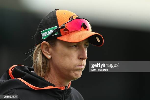 Scorchers head coach Lisa Keightley looks on during the Women's Big Bash League match between the Hobart Hurricanes and the Perth Scorchers at...