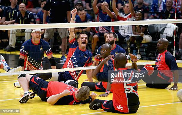 USA score against GBR during sitting volleyball as teams compete in the finals during the Invictus Games Orlando 2016 at ESPN Wide World of Sports on...