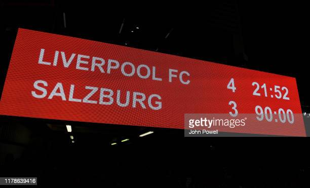 Score board at the end of the UEFA Champions League group E match between Liverpool FC and RB Salzburg at Anfield on October 02 2019 in Liverpool...