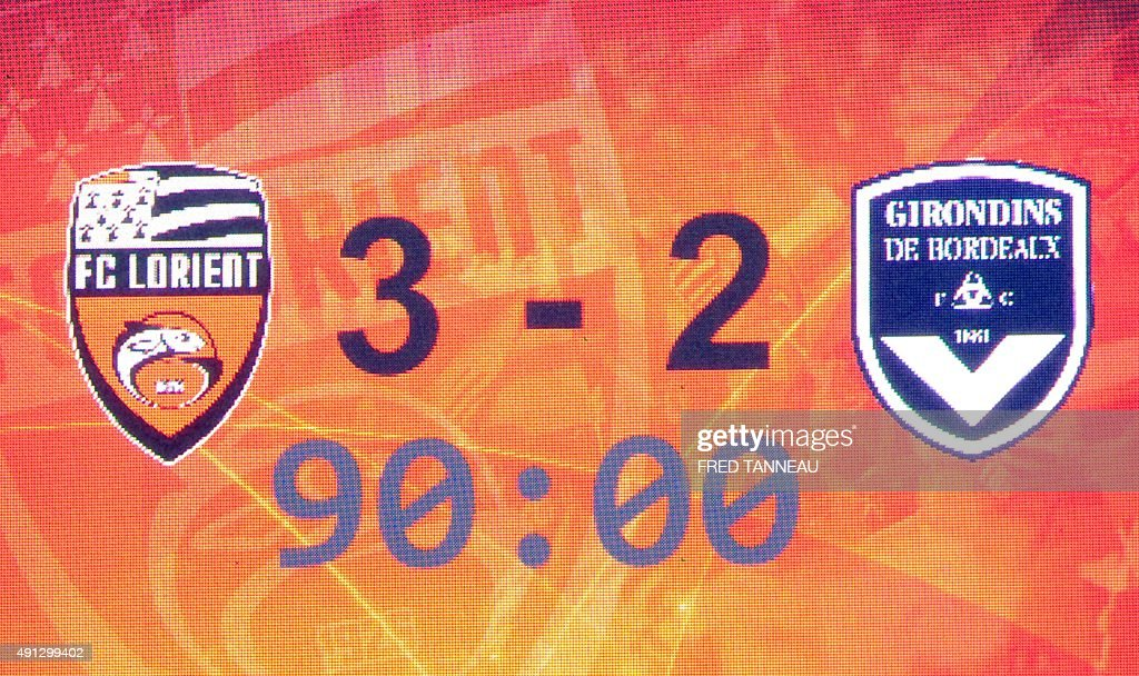 A score board shows the match's result after the French L1 football match between Lorient and Bordeaux at Moustoir Stadium in Lorient, western France, on October 4, 2015. Lorient won the match 3-2.