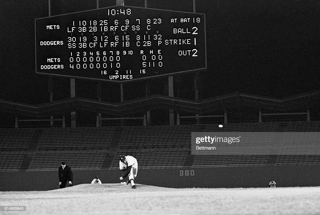 Score Board in No Hitter Pitched by Sandy Koufax : News Photo