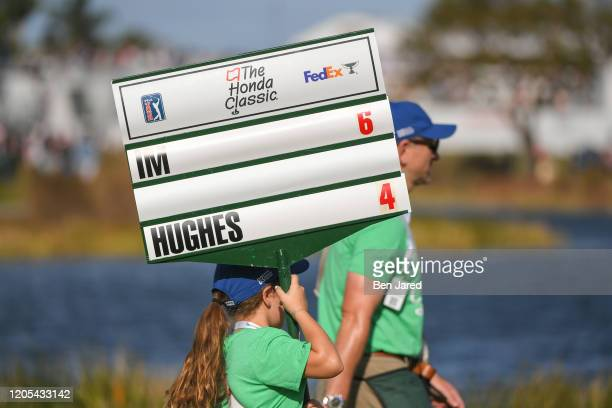 Score carrier signage during the final round of The Honda Classic at PGA National Champion course on March 1 2020 in Palm Beach Gardens Florida